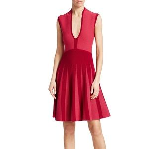 Emporio Armani fit and flare red knit dress 42